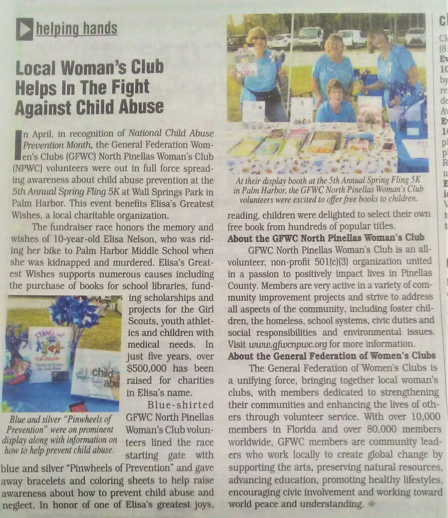 6d176af5 GFWC North Pinellas Woman's Club featured in Bringing Home Community ...