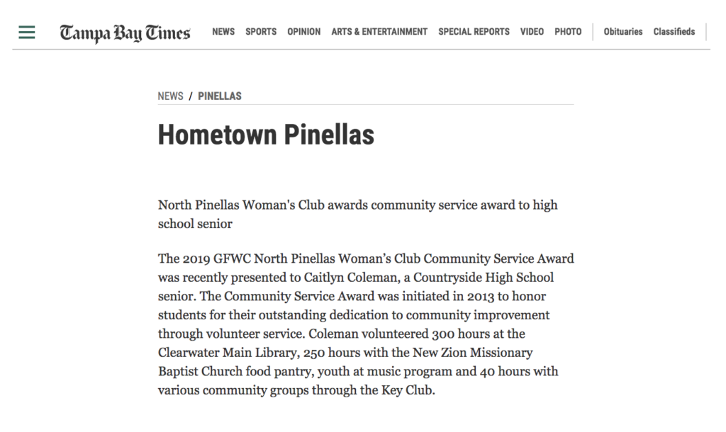 Hometown Pinellas Tampa Bay Time - GFWC North Pinellas Woman's Club scholarship